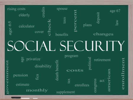 Social Security Word Cloud Concept on a Blackboard with great terms such as age 65, retirement, government, credits, taxes, law and more. photo