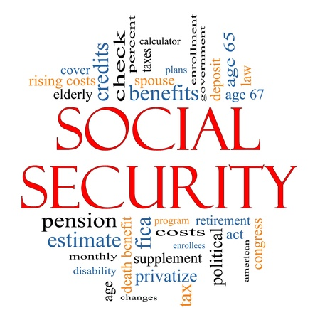 Social Security Word Cloud Concept with great terms such as age 65, retirement, government, credits, taxes, law, fica and more.