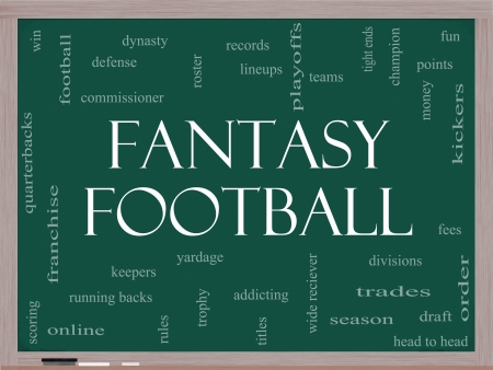 football teams: Fantasy Football Word Cloud Concept on a Blackboard with great terms such as draft, running back, money, fees, defense, teams and more.