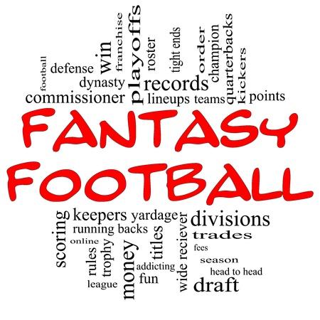 letras negras: Fantasy Football Palabra Nube Concepto en letras rojas y negro con t�rminos de calidad, como proyecto, el corredor, dinero, cargos, defensa, registros, equipos y m�s. Foto de archivo