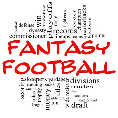 fees: Fantasy Football Word Cloud Concept in red and black letters with great terms such as draft, running back, money, fees, defense, records, teams and more. Stock Photo