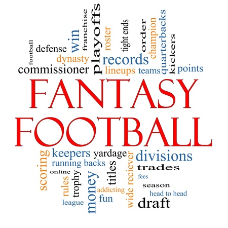 fees: Fantasy Football Word Cloud Concept with great terms such as lineups, draft, running back, money, fees, defense, teams and more.
