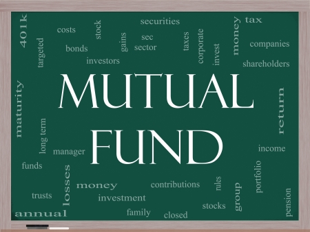 mutual: Mutual Fund Word Cloud Concept on a Blackboard with great terms such as investors, taxes, money, 401k, income, portfolio and more.