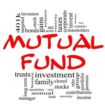 mutual fund: Mutual Fund Word Cloud Concept in red & black with great terms such as sec, investors, taxes, money, 401k, income, portfolio and more. Stock Photo