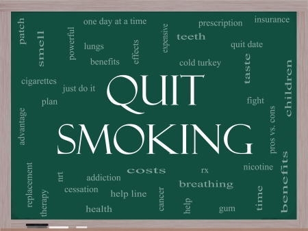 Quit Smoking Word Cloud Concept on a Blackboard with great terms such as nicotine, cold turkey, quit date, patch and more.