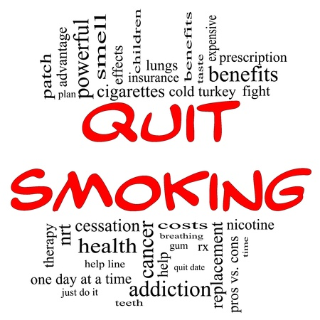 Quit Smoking Word Cloud Concept in red and black letters with great terms such as nicotine, cold turkey, quit date, patch, cessation and more. Stock Photo