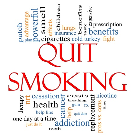 Quit Smoking Word Cloud Concept with great terms such as nicotine, cold turkey, cessation, quit date, patch and more.