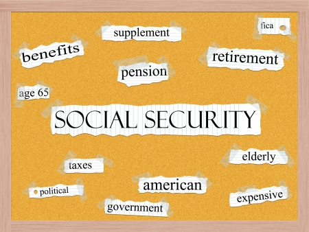 An Social Security word cloud concept with words on notebook paper taped on a corkboard and great terms such as retirement, pension, age 65, elderly, supplement, and more. photo