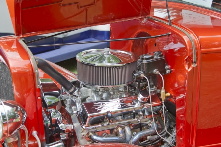 WAUPACA, WI - AUGUST 25: Engine of 1930 Chevy Coupe car at the 10th Annual Waupaca Rod & Classic Car Club Car Show on August 25, 2012 in Waupaca, Wisconsin. Editorial