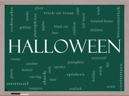trick or treat: Halloween Word Cloud Concept on a Blackboard with great terms such as pumpkin, trick, treat, witch, costumes and more. Stock Photo