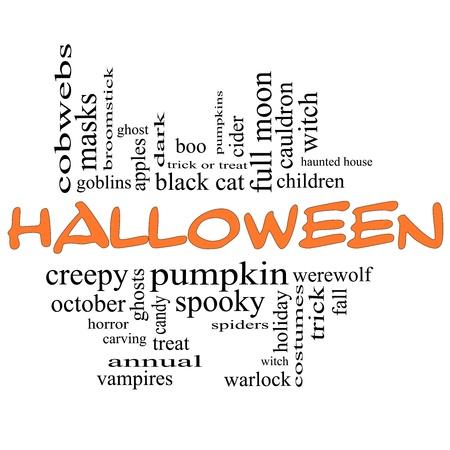 Halloween Word Nube Concepto en letras de color naranja y negro con los t�rminos de la talla de abucheo, calabaza, truco, bruja, disfraces y mucho m�s. photo
