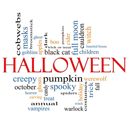 trick or treat: Halloween Word Cloud Concept with great terms such as pumpkin, boo, trick, treat, witch, costumes and more.