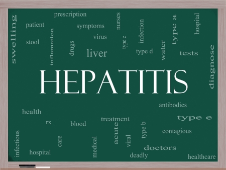 stool blood: Hepatitis Word Cloud Concept on a Blackboard with great terms such as liver, virus, type b, viral, symptoms and more. Stock Photo