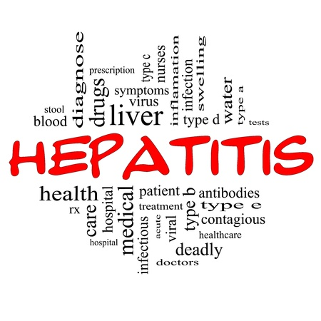 Hepatitis Word Cloud Concept in red and black letters with great terms such as liver, doctors, virus, type b, viral, symptoms and more. photo