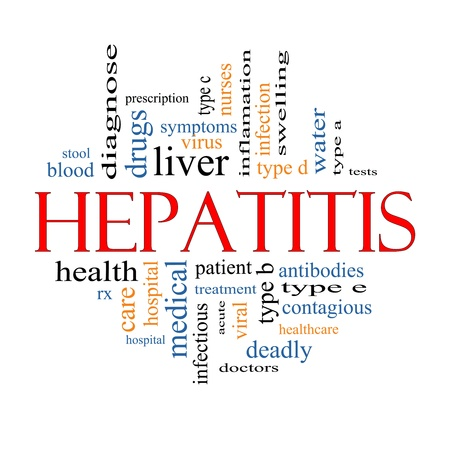 Hepatitis Word Cloud Concept with great terms such as liver, virus, type b, infection, viral, symptoms and more. photo