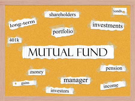mutual funds: A Mutual Fund word cloud concept with words on notebook paper taped on a corkboard and great terms such as pension, shareholders, investments, manager and more. Stock Photo