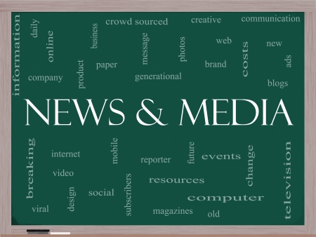 breaking: News and Media Word Cloud Concept on a Blackboard with great terms such as television, viral, magazines, social, internet, events and more.