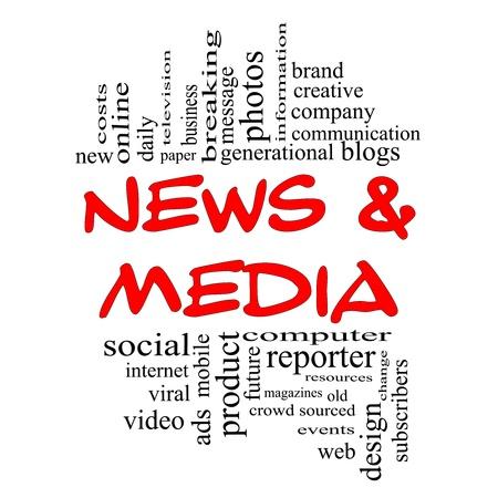 m�dia: News and Media Palavra Concept Cloud em letras vermelhas e pretas, com excelentes condi��es, como a televis�o, a marca, viral, revistas, social, internet, eventos e muito mais. Banco de Imagens