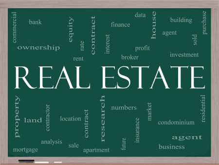 Real Estate Word Cloud Concept on a Blackboard Stock Photo - 15028377