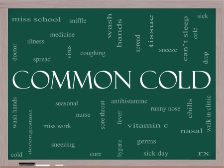 Common Cold Word Cloud Concept on a Blackboard photo