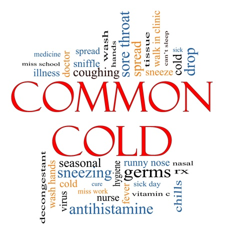tosiendo: Common Cold Word concepto de nube Foto de archivo