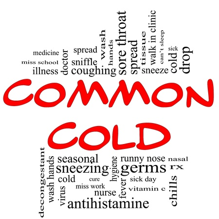 Common Cold Word Cloud Concept in red  photo