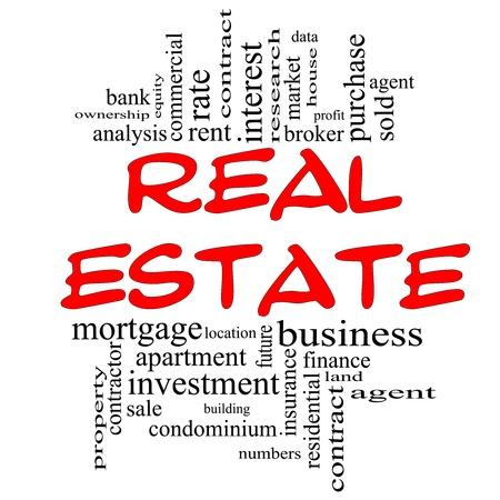 Real Estate Word Cloud Concept in het rood