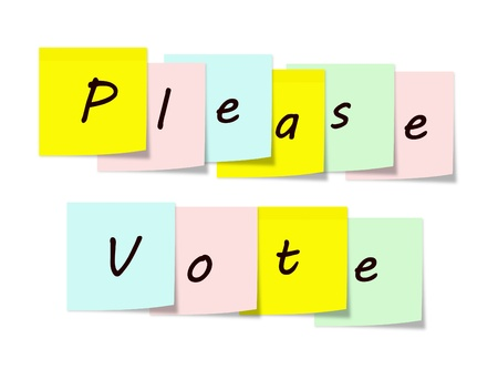 Please Vote written on colorful Sticky Notes Stock Photo - 15028380