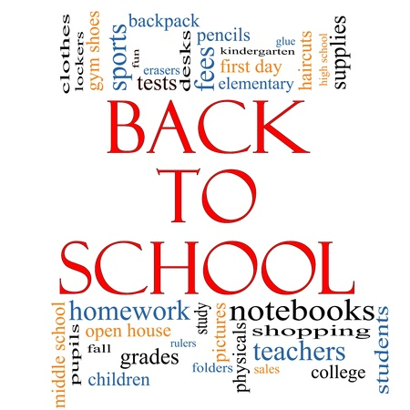 Back to School Word Cloud Concept with great terms such as teachers, students, supplies, sales, tests, glue and more.