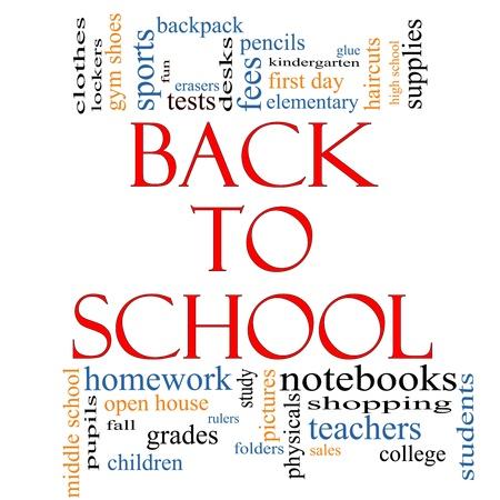 high schools: Volver a la escuela concepto de nube de Word con t�rminos de calidad, como los maestros, los estudiantes, los suministros, ventas, pruebas, pegamento y mucho m�s.