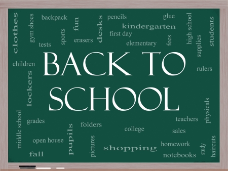 physicals: Back to School Word Cloud Concept on a Blackboard with great terms such as teachers, students, supplies, sales, tests, glue and more. Stock Photo