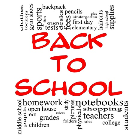 Back to School Word Cloud Concept in red & black letters with great terms such as teachers, students, supplies, sales, tests, glue and more. photo