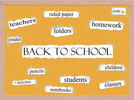 Back to School Corkboard Word Concept with great terms such as homework, students, children, classes and more. Stock Photo - 15028424