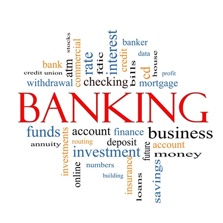 checking account: Banking Word Cloud Concept with great terms such as bank, credit union, checking, account, annity and more.