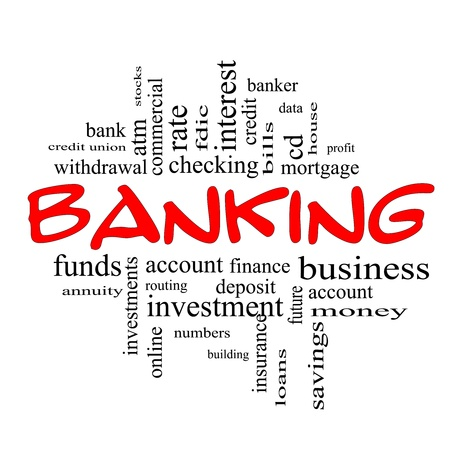 checking account: Banking Word Cloud Concept in red and black letters with great terms such as bank, credit union, checking, account, annity and more. Stock Photo