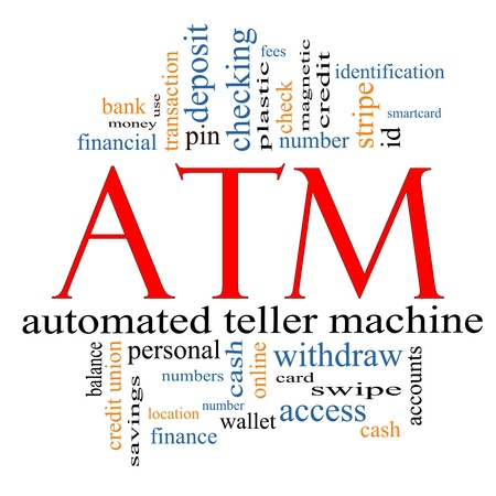 ATM Word Cloud Concept with great terms such as automated, teller, machine, pin, number and more. photo