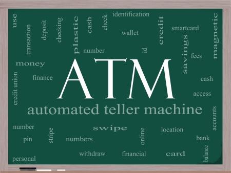 자동화 된, 텔러, 기계, 핀 번호 등과 같은 훌륭한 조건의 칠판에 ATM 단어 구름 개념입니다. 스톡 콘텐츠 - 15028418