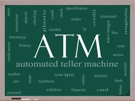 credit union: ATM Word Cloud Concept on a Blackboard with great terms such as automated, teller, machine, pin, number and more.