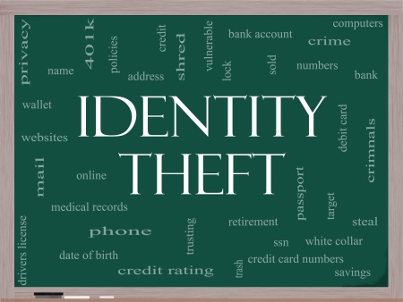 bank records: Identity Theft Word Cloud Concept on a blackboard with great terms such as privacy, bank, account, numbers, credit cards and more.