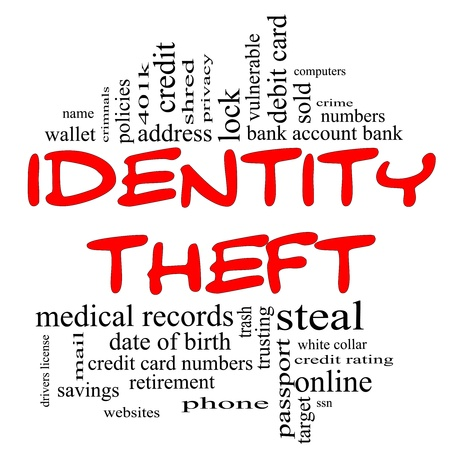 Identity Theft Word Cloud Concept in red & black letters with great terms such as privacy, bank, account, numbers, credit cards and more. Stock Photo