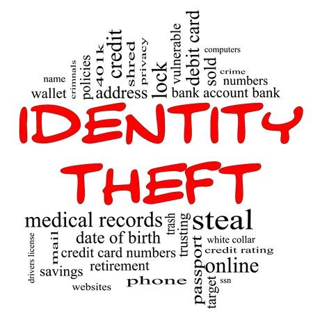 personalausweis: Identity Theft Word Cloud Konzept in rot und schwarzen Buchstaben mit gro�er Begriffe wie Privatsph�re, Bank, Konto-Nummern, Kreditkarten und vieles mehr.