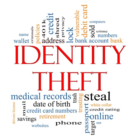 bank robber: Identity Theft Word Cloud Concept with great terms such as privacy, bank, account, numbers, credit cards and more.