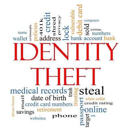 personalausweis: Identity Theft Word Cloud Konzept mit gro�em Begriffe wie Privatsph�re, Bank, Konto-Nummern, Kreditkarten und vieles mehr.