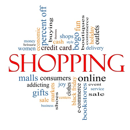 Shopping Word Cloud Concept with great terms such as sale, bogo, commerce, mall, women and more. Stock Photo