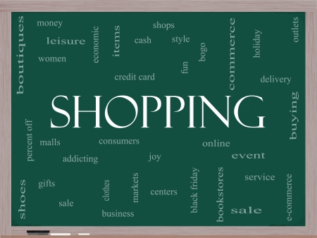 Shopping Word Cloud Concept on a Blackboard with great terms such as sale, bogo, commerce, mall, women and more. photo
