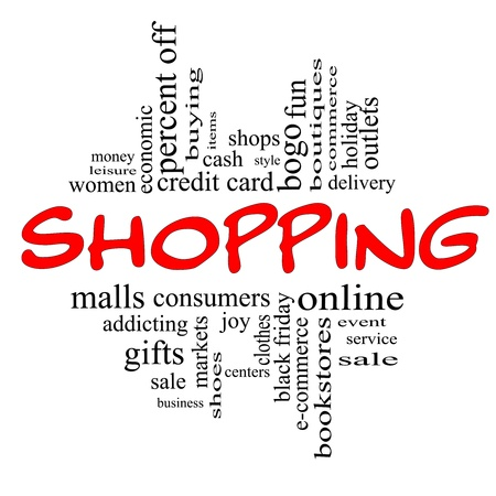 one item: Shopping Word Cloud Concept in red and black letters with great terms such as sale, bogo, commerce, mall, women and more.