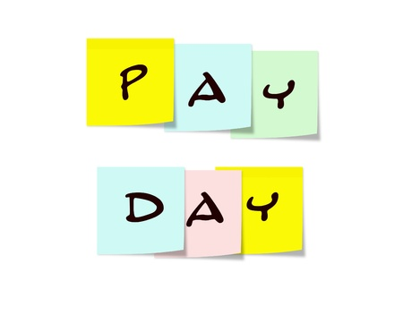 Pay Day written on colorful Sticky Notes Stock Photo - 15028378