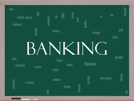 checking account: Banking Word Cloud Concept on a blackboard with great terms such as bank, credit union, checking, account, annity and more.