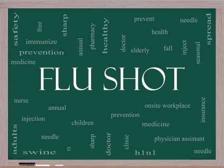 Flu Shot Word Cloud Concept on a Blackboard with great terms such as needle, prevention, inject, medicine and more. photo