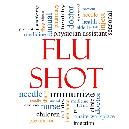 onsite: Flu Shot Word Cloud Concept with great terms such as rx, needle, prevention, inject, medicine and more. Stock Photo
